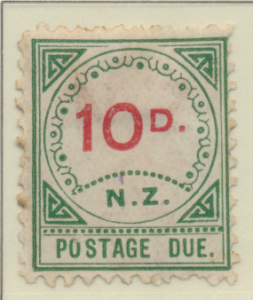 New Zealand Stamp Scott #J9, Unused, No Gum, Toning, Small :D, Large NZ -...