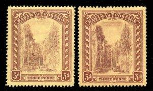 Z. Bahamas 1911 KGV Escalera 3D Wmk Mcca Tanto Amarillo Sombras Sg 76 ,76a Nuevo