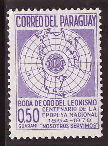 Paraguay Scott 1016 MH* Lions Intertnational map stamp