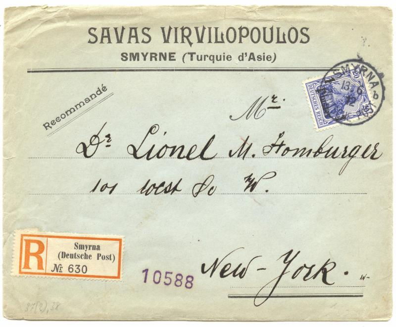 Turkey 1912 SMYRNA R-Cover to New York, commercial usage, uncommon destination