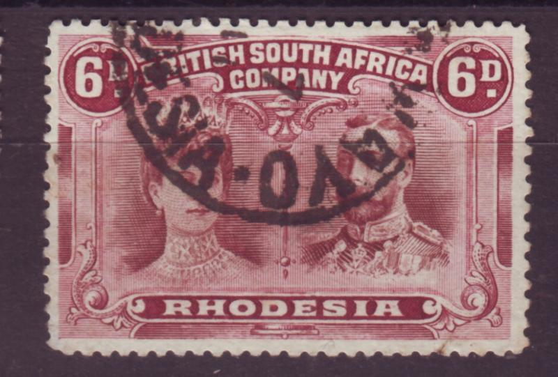 J17096 JLstamps 1910 rhodesia used #108 king and queen