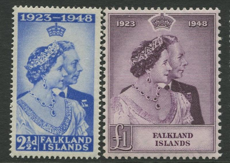 Falfland Is - Scott 99-100 -Silver Wedding Issue-1948 -MNH - Set of 2 Stamps