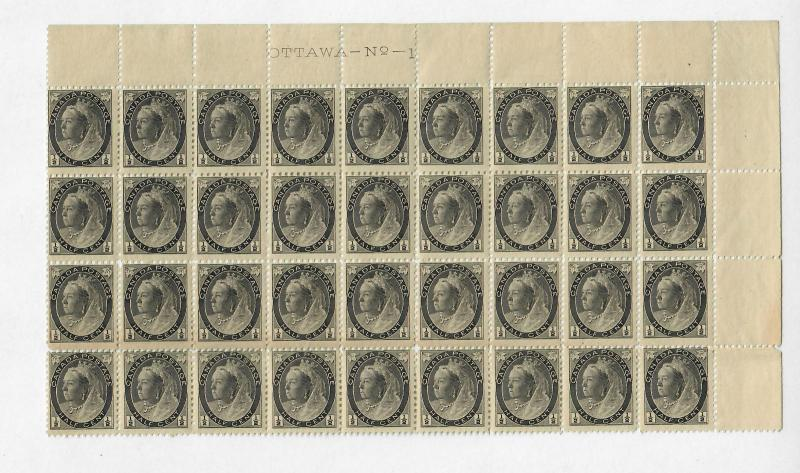 Canada Sc#74 M/NH, Plate Block Of 36 With Major Re-Entry, Gum Crease On 3rd Row