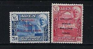 ADEN -SHIHR AND MUKALA - SCOTT #12-13- 1946 VICTORY OVERPRINTS -MINT XXXLH