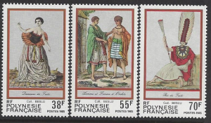 French Polynesia #419-21, MNH set, traditional costumes, Issued 1985