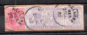 India QV & KEVII strip on piece Nellore CDS WS12138