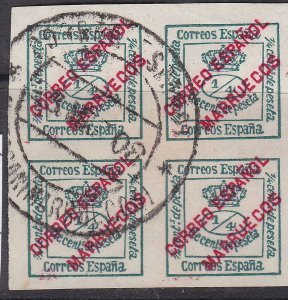 SPANISH MOROCCO^^^^^better used   BLOCK of 4  CLASSICS( SOTN)   $$ @dcc575spa5