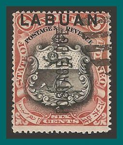Labuan 1901 Postage Due, Arms, cancelled  J5,SGD5b