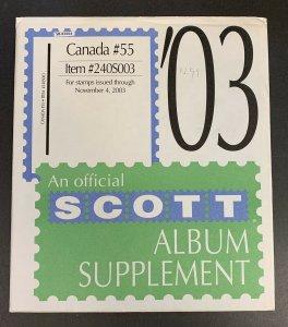 Canada 2003, Scott Specialty Album Supplement #55, Scott Item #240S003
