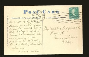 Canada 303 on Postmarked Vancouver BC 1951 Postcard Used