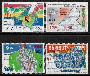 Zaire #1241-4 MNH Set - French Revolution Anniversary