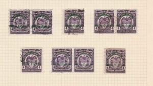 COLOMBIA 1925 OVERPRINTS STAPS STUDY ON 1 PAGE MOUNTED MINT & USED  REF 5314