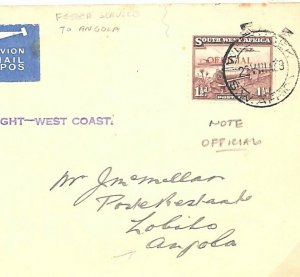 SOUTH WEST AFRICA Cover AIR *Official* Angola*First Flight-West Coast* 1939 D216