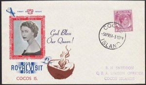 SINGAPORE USED IN COCOS ISLAND 1954 Royal Visit cover.......................4711