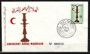 Morocco, Scott cat. 534. Red Crescent issue. Candlestick First Day cover.