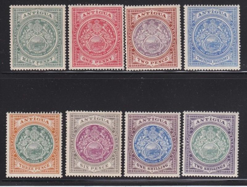 Antigua Scott #'s 31 - 38 Set VF mint LH with nice color scv $ 187 ! see pic !