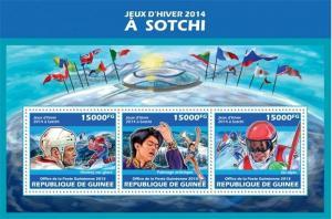 Guinea - 2013 Sochi Winter Games 2014 - 3 Stamp Sheet - 7B-2322