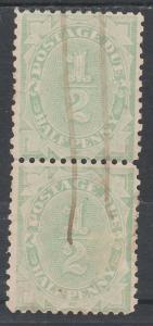 AUSTRALIA 1907 POSTAGE DUE 1/2D PAIR WMK CROWN/DOUBLE LINED A PERF 11.5 X 11