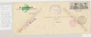 EGYPT TO IRAQ 1939 CENSOR COVER, IRAQI DOUBLE CIRCLE CENSOR EARLY USE (SEE BELOW