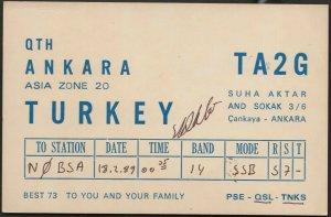 QSL CARD TA2G,Suha Aktar And Sokak,89,Turkey(Q4529)