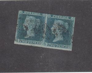 GREAT BRITAIN  # 4 VF-USED 2d 1841 /QUEEN VICTORIA PAIR /BLUE CAT VALUE $100