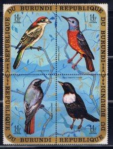 Burundi C134 MNH 1970 Birds in Block of 4