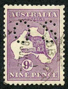 Australia SG047B 9d Violet Perf OS Die II Narrow Wmk used