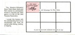 2001 USA Stamp #LT94 Sisseton-Wahpeton Sioux Tribe Game & Fish Hunting License