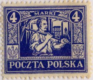 POLOGNE / POLAND - UPPER SILESIA 1922 Mi.11 p12-1/2x13-1/2 4Mk Ultramarine Mint*