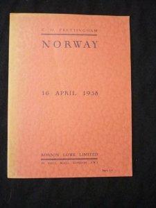 ROBSON LOWE AUCTION CATALOGUE 1958 NORWAY 'FRETTINGHAM' COLLECTION