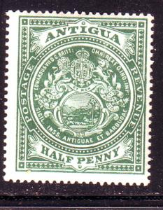 Antigua Sc 31 1908 1/2d green Coat of Arms stamp mint