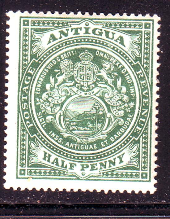 Antigua Sc 31 1908 1/2d grn Coat of Arms stamp mint