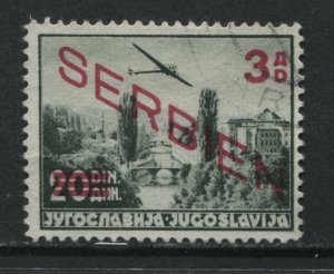Serbien overprinted on Jugoslavia used Airmail with new value 3 dinars