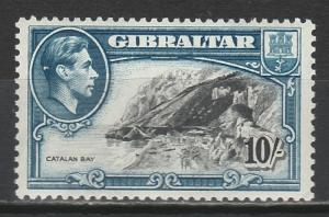GIBRALTAR 1938 KGVI CATALAN BAY 10/- PERF 13