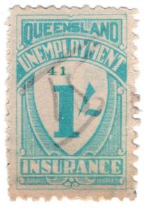 (I.B) Australia - Queensland Revenue : Unemployment Insurance 1/- (1941)