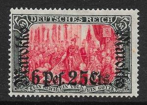 GERMAN P.O.'S IN MOROCCO SG63 1911 6p25 ON 5m CARMINE & BLACK MTD MINT