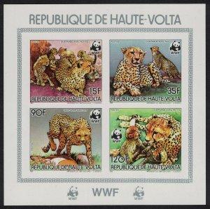 Upper Volta WWF Cheetah Souvenir Sheet imperf 1984 MNH SG#723-726