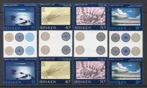 Bermuda Sc 478-81 1985  Halley's Comet stamp set gutter pair mint NH