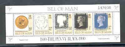Isle of Man Sc422 1990 Penny Black stamp sheet
