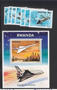 Rwanda, 885-93, History of Aviation Singles & S/S (1), MNH