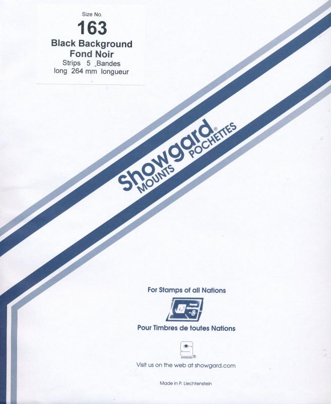 Showgard Stamp Mount 163/264 BLACK Background Pack of 5