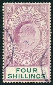 Gibraltar SG63 KEVII 4/- Deep Purple and Green Wmk Mult Crown fine used