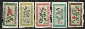 Germany - GDR/DDR 1960 Sc# 494-498 MNH VG/F - Flowers
