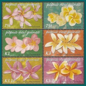 Papua New Guinea 2005 Frangipani Flowers, MNH  #1170-1175,SG1074-SG1079