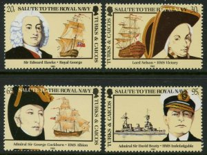TURKS & CAICOS Sc#666-669 1985 Salute to Royal Navy Complete OG Mint NH
