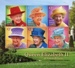 Union Island Grenadines St Vincent 2015 MNH Queen Elizabeth II Reigning 6v M/S