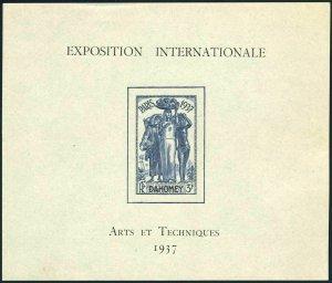 Dahomey 107 sheet,lightly hinged.Michel 102 Bl.1. Paris 1937 EXPO.Statue,Fruit.