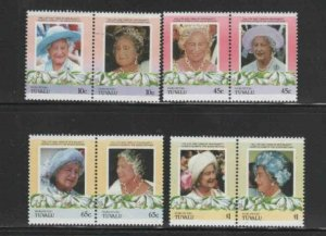 TUVALU-NUKUFETAU #44-47 1985 QUEEN MOTHER 85TH BIRTH MINT VF NH O.G PAIRS