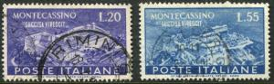 ITALY # 579 - 580 F-VF Used Set - ABBEY OF MONTECASSINO RECONSTRUCTION - S5689