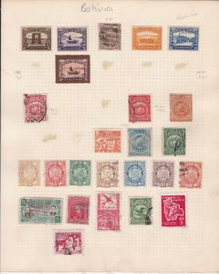 bolivia  early stamps on page  ref r12924